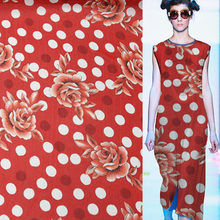 "Big Floral and polka dot print 100% pure silk georgette silk fabric 12momme 45"" width by yard,SCG109"