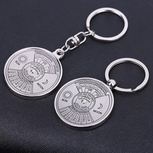 H:HYDE Perpetual Creative Key Chains Fifty Years Calendar Keychain Circular Couple Sun and Moon Key Chain keyring For Men/Women
