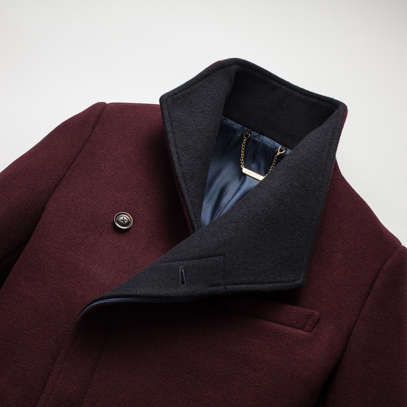 2017 winter Men's fashion leisure high quality wool jackets trench coat Men stand collar business windbreaker woolen overcoat