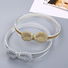 Sparkling Bow Headbands Baby Girls Hair Accessories Elastic Baby Head Bands 4 Colors 1 PC(China)