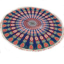 Home Decor Pad Round Colorful Tassel Floral Printed Blanket Towel Mat Tapestry For Beach Time(China)