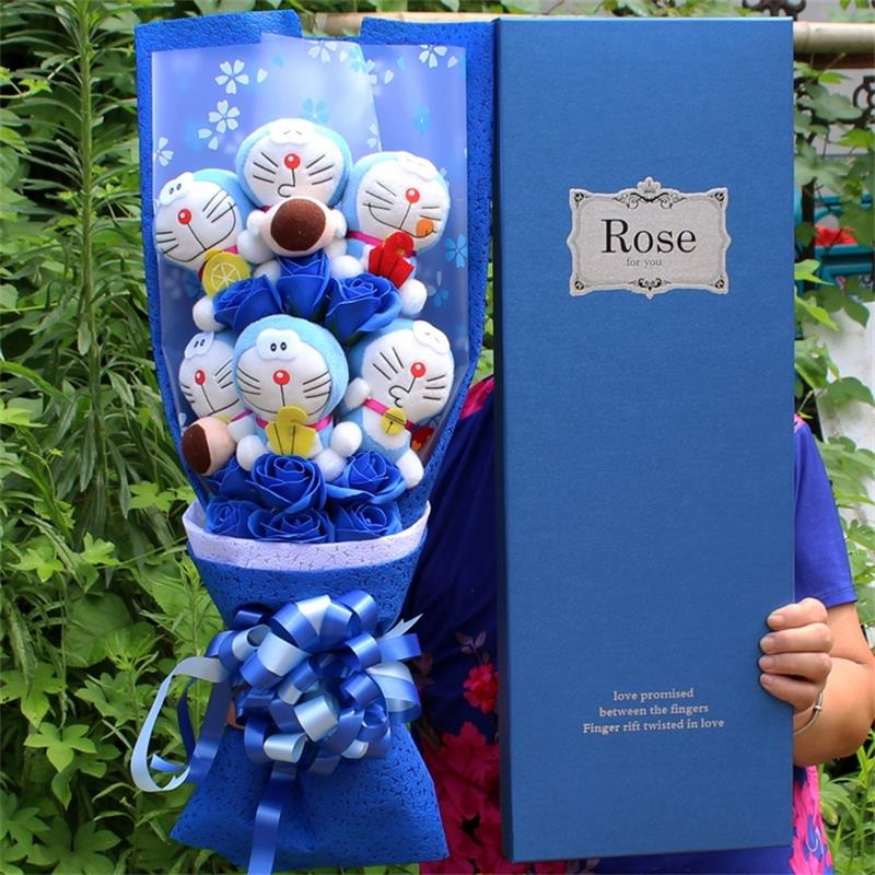 Fashio Cute Stuffed Animal Plush Toy Lovely Doraemon+fake roses Cartoon Flower Bouquet Creative Valentines Day Christmas gifts <br>