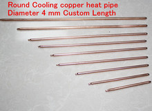 2pcs/lot 4*220mm Cooling copper heat pipe round heat tube 4mm radiant pipe rod-shaped cooler diy copper pipe heatsink