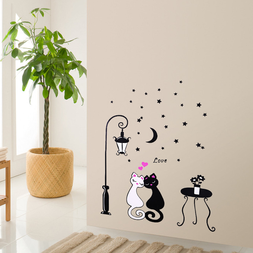1 pcs Cute Cartoon Couple Cat Flower Vine 3D Wallpaper 1 pcs Cute Cartoon Couple Cat Flower Vine 3D Wallpaper HTB1SGgPNpXXXXa7XXXXq6xXFXXXS