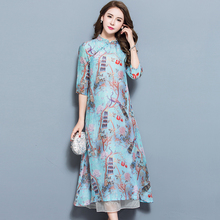 Women Long dress Print Loose Half Sleeve Wind Peacock Blue Silk Linen Chinese Style Dresses 1717