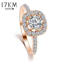 17KM Brand Design New Fashion Elegant Luxury Charm Crystal Ring jewelry Rose Gold Color Wedding Bride Accessories for women(China)