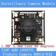 "4.3mm Pinhole camera HD 1/4 ""CMOS image sensor AHD 8901A+H42 1000TVL Mini CCTV night vision camera module(China)"