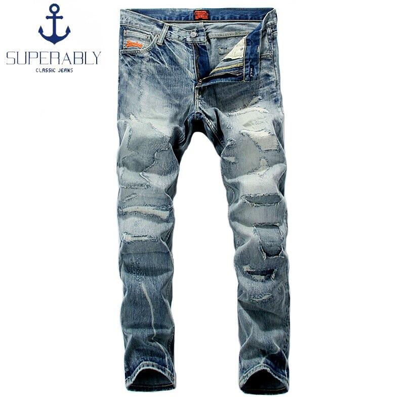 Retro Design Fashion Mens Jeans Destroyed Ripped Jeans Men Brand Clothing Full Length Casual Pants Superably Street Biker JeansÎäåæäà è àêñåññóàðû<br><br>