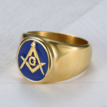 UJBOX Dropshipping Blue Enamel Masonic Rings Stainless Steel A G Free-Mason Rings Men Christmas Gift US Size 8 to 15 R726UX(China)