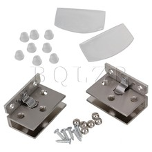 BQLZR Stainless Steel 90 Degree Frameless Wall to Glass Bathroom Door Hinge Clamps Clip 2pcs