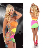 Sexy Women Lady Uniforms Halloween Bar Performance Clothing Pole Dancing Rainbow-Colored Bandage JAZZ Mini Skirt Wholesale