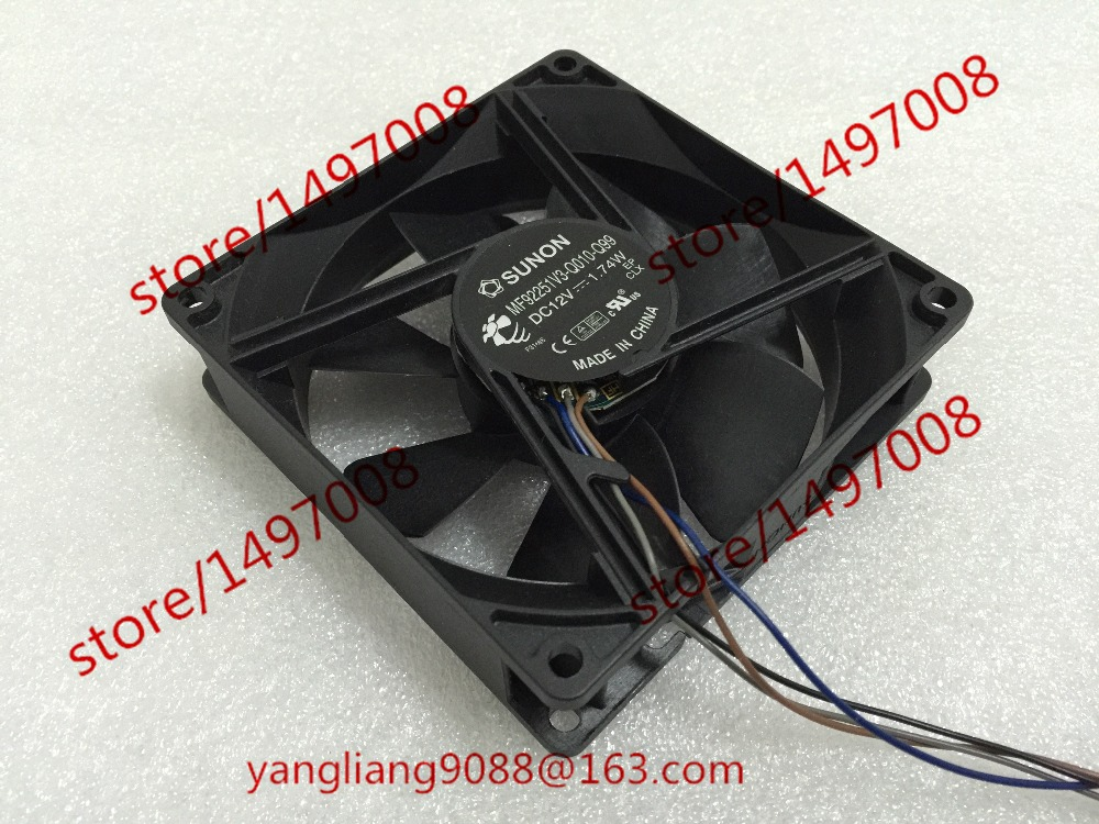 Free Shipping For SUNON MF92251V3-Q010-Q99 DC 12V 1.74W 4-wire 4-pin 30mm connector 92x92x25mm Server Square fan<br>