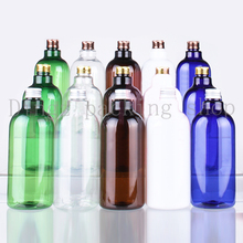 10pcs 500ml Aluminum Cap Silver/Gold/bronze multicolor cosmetic travel size Bottle 500ml plastic lotion cosmetic pet bottles(China)