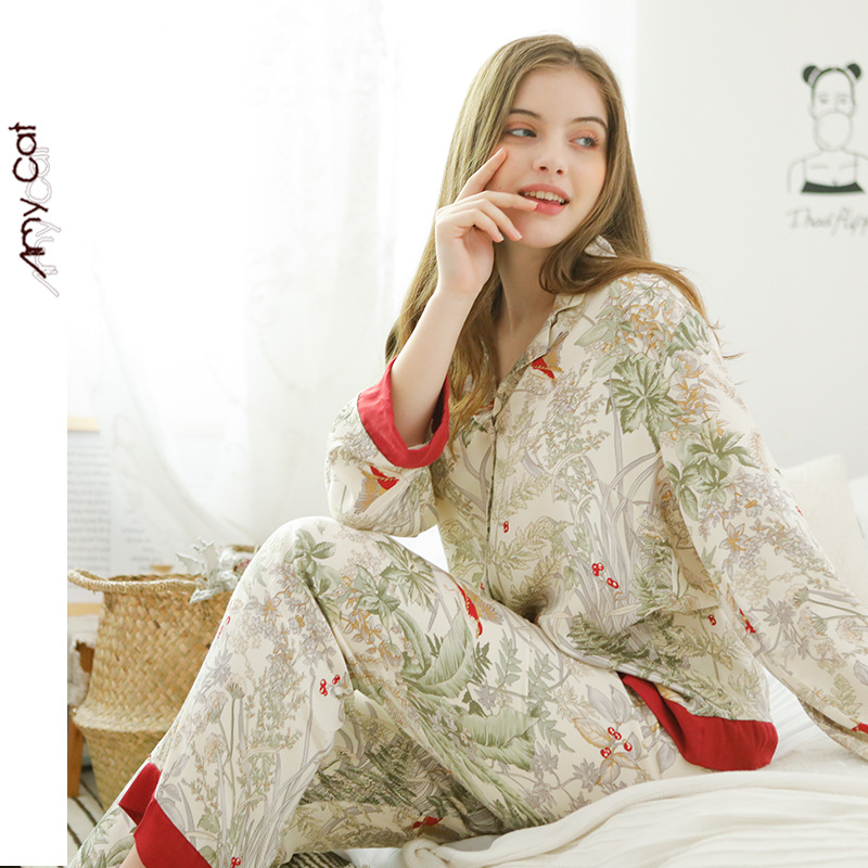 Ladies casual satin pajamas set can be worn outside the home clothes grass print tops + pants night gown spring and summer new