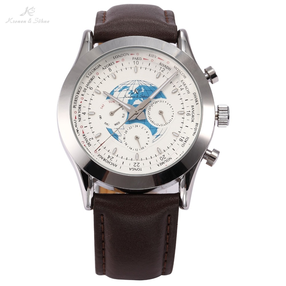 Brand KS Aviator Date Day Automatic Mechanical Silver Stainless Steel Case Brown Leather Band Dress White Mens Watches / KS106<br>
