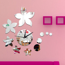 creative wall clock  for Dining living room bedroom wall clock deco,  craft clock Bauhinia Mirror Wall clock Stickers