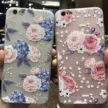 KaiNuEn luxury 3d flower tpu phone back copy,etui,capinha,coque,case,cover for iphone 7 7s for apple iphone7 silicone silicon i(China)