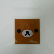 7*7cm Self Adhesive Plastic Bakery Cookie Packaging Bag Brown Bear Baking Biscuit Cake Packing Polybag Pouch Snack Bread Package