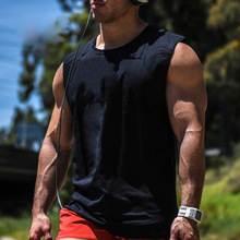 Mens Cotton Loose Workout Active Tank Tops For Male Black Bodybuilding Casual Wide Shoulder Sleeveless T-Shirts Vests Undershirt(China)