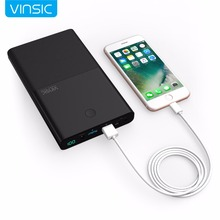 Vinsic 30000mAh 4.5A/19V Notebook Power Bank Fast Charge Dual Ports External Battery Charger for Laptops Tablets iPhone Samsung