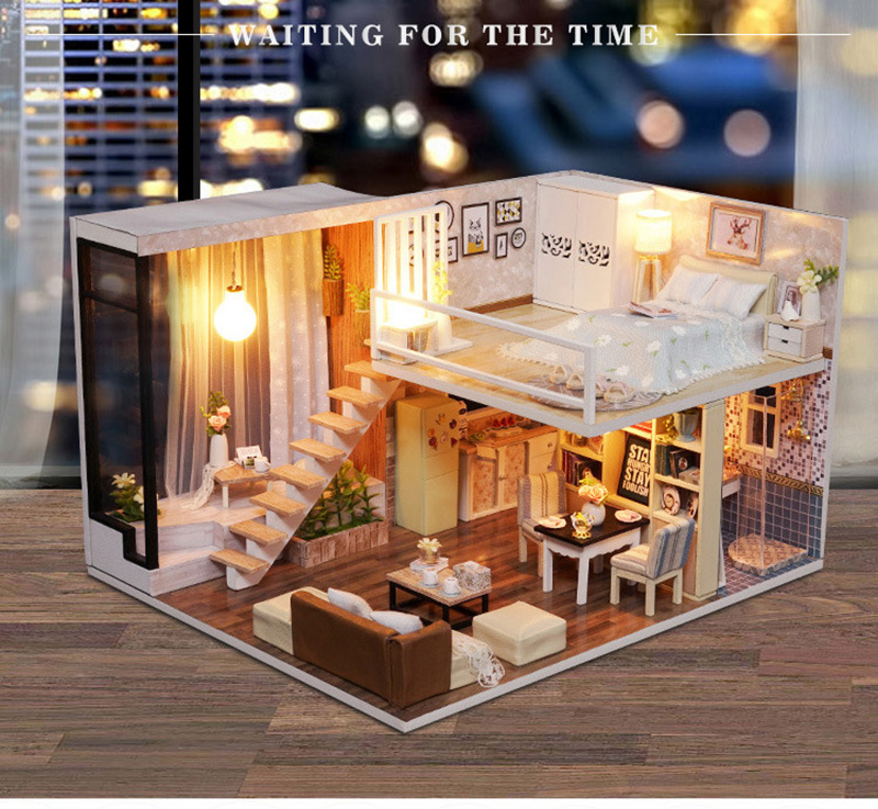 Wooden Miniature DIY Doll House Toy Assemble Kits 3D Miniature Dollhouse Toys With Furniture Lights for Birthday Gift L020 - Waiting Time (1)