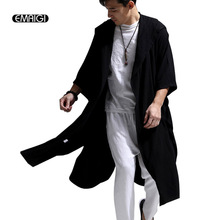 White Blue Black High Quality Cotton Linen Men Women Trench Coat Male Hooded Cloak Long Windbreaker Cardigan Trench Jacket(China)