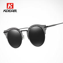 Top Fashion Vintage Sunglasses Women Baroque Hollow Round Glasses Female Oversized Sunglass lentes de sol mujer UV400 CE(China)