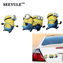 1pc SEEYULE Minions Car Sticker on Cars Running Away Style Funny Despicable Me Cartoon Glue Car Decal Scratch Side Trunk sticker
