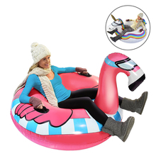 2018 Newest Flamingo/Unicorn Winter Snow Tube Ride-on Inflatable Sled&Toboggan For Adults Skiing Ski Toy Pool Float Air Mattress(China)