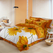 3D Daisy Yellow Flower Bedding Sets Queen Size & King Size,100% Cotton Bed Sheets Pillowcase Duvet Cover Set 4pcs Bed in a Bag(China)