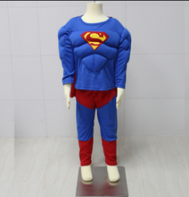 Free Shipping Children Halloween Cosplay Clothing Superman Suit Muscle Superman Costume