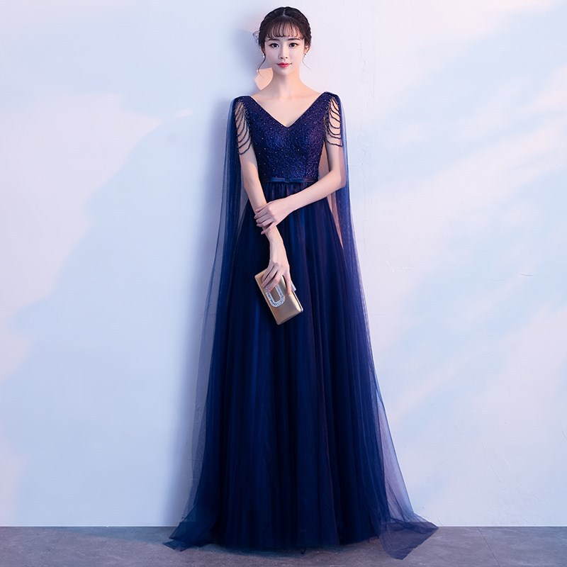 Abiti Da Cerimonia Da Sera Blue A Line Formal Evening Dress Floor Lenght Elegant Prom Dresses Party Gowns Robe De Soiree