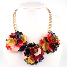 Jewelry Exo Gorgeous Acrylic Three-flower Chain Colorful Short Lady's Women Fashion Choker Necklace Party Accessory, 12 Colors