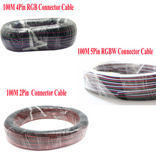 100m 4 pin rgb connector 5 pin rgbw cable connector 2 pin extension cord rgb rgbw 5050 3528 led strip accessories flat wire cord(China)