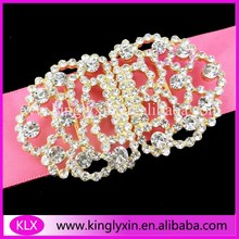 (100pcs/lot )45*75mm Gold Plating Crystal Rhinestone Pair Buckles For Silk Box