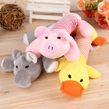 Pig/DUCK shape Pet Puppy Dog Chew Squeaker Squeaky Plush Sound Pig Elephant Toy cleaning tooth chewing pet supply