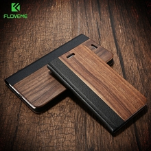 FLOVEME Natural Wood Leather Case for iPhone 6 6S 7 Plus Flip Stylish Hard Cover for iPhone 6 6S 7 for 6S 7 Plus Stand Card Slot