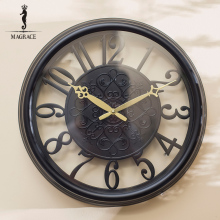 "Handmade 17"" 3D Silent Retro Roman Wrought iron Vintage Large Decorative Numerals Design Wall Clock Movement Home Wall Watches"