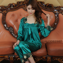 Spring Summer Fall Women Chinese Satin Silk Pajamas Sets of Sleepcoat & Pants Lady Nightgown Girl Sexy Lingerie Superior Quality