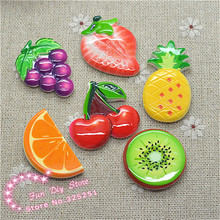 flat back ananas fruit resin printing crafts 25-35mm 50pcs/lot