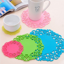 Hot Coming 2PCS/Lot Nonslip Heat Resistant Floral Lace Silicone Table Mat Cup Coaster Pan Placemat Pad(China)