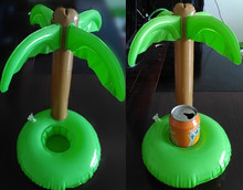 4pcs Inflatable Mini Palm Island Floating Drink Holder Hot Tub Pool Bath Holiday Swim Pool Spa Float Party Decor