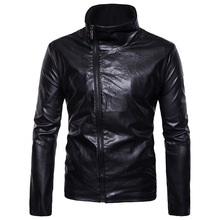ief.G.S Men's Leather Jacket fashion 2017 Autumn Winter New European Pop Locomotive Oblique Zipper Collar casual Jacket(China)