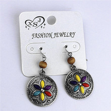 The new yellow orange green purple 4 color restoring ancient ways girl party gift pendant earrings wholesale free shipping!