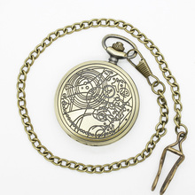 "(DH119S) 12pcs/lot Silver DW doctor who desgin Necklace Engraved Quartz Pocket Watch, Dia 1.77"",  Chain 31.5"""