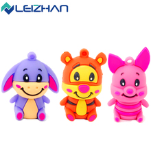 LEIZHAN Cute Animal 2.0 USB Flash Drive Tiger Donkey Pig U Stick 64G 32G 16G 8G 4G Pendrive Silicone USB Computer Memory Stick