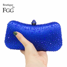 Royal Blue Crystal Women Evening Bags Bridal Wedding Satin Box Clutch Rhinestones Purses and Handbags Metal Chains Clutches Bag(China)