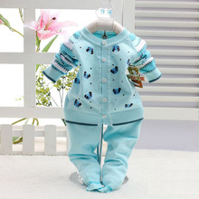 Baby sweater set 2017 Spring autumn/winter fashion newborn baby cotton cardigan suit baby sweater (coat + pants) trend baby suit
