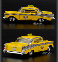 Brand New 1/40 Scale USA 1957 Chevrolet Bel Air Taxi Diecast Metal Pull Back Car Model Toy For Gift/Kids/Collection
