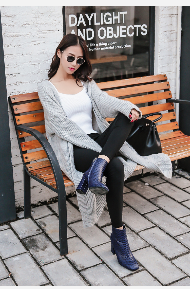 Donna-in 2017 new style ankle boots sexy snake leather women boots retro square toe thick high heel autumn boots 15325-19 (1-5)